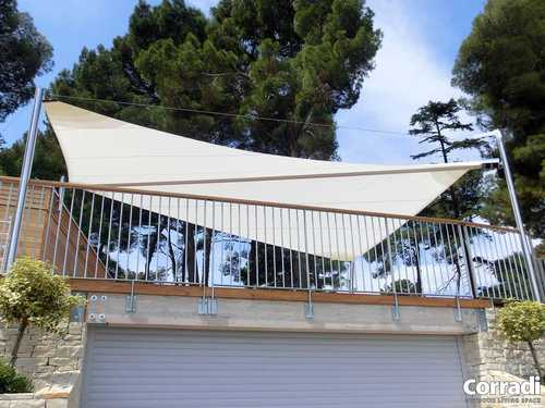 voile d'ombrage blanche pour terrasse